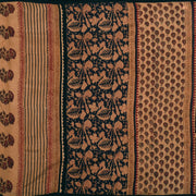 Honey Brown Multi Floral Printed Khadi Silk Saree With Blouse