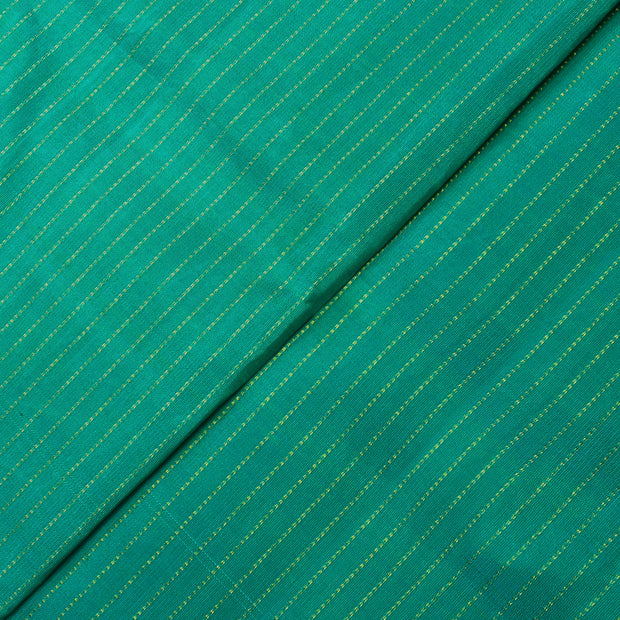 Turquoise Blue Dual Tone Muthuseer Line Kanchi Silk Fabric