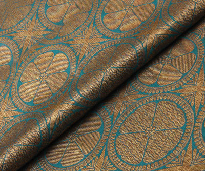 Teal Blue Banarasi Silk Fabric With Antique Zari Butta Highlights