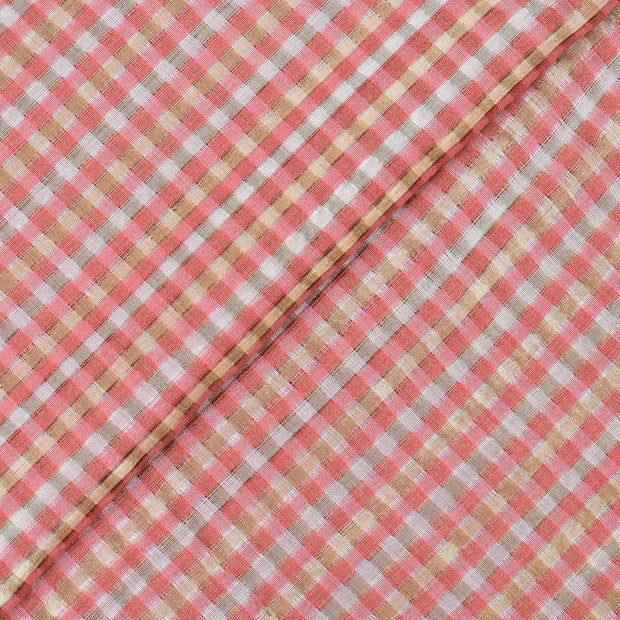 Peach And Gold Checks Tussar Fabric