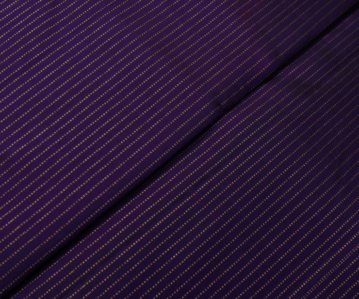 Violet Kanchi Silk Fabric With Striped Zari Highlights