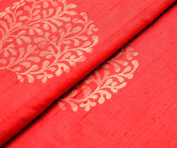Red Tussar Fabric With Gold And Silver Zari Floral Butta Highlights
