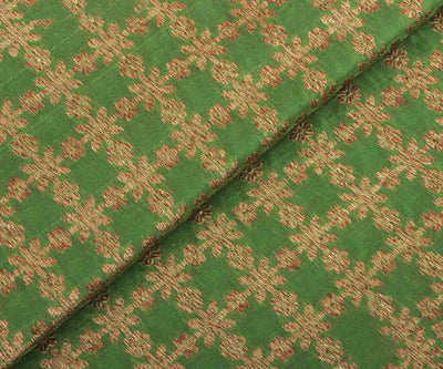 Samanga Green Banrasi Silk Fabric with Golden Checks