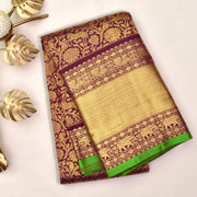Dark Maroon Kanchi Silk Saree With Green Blouse