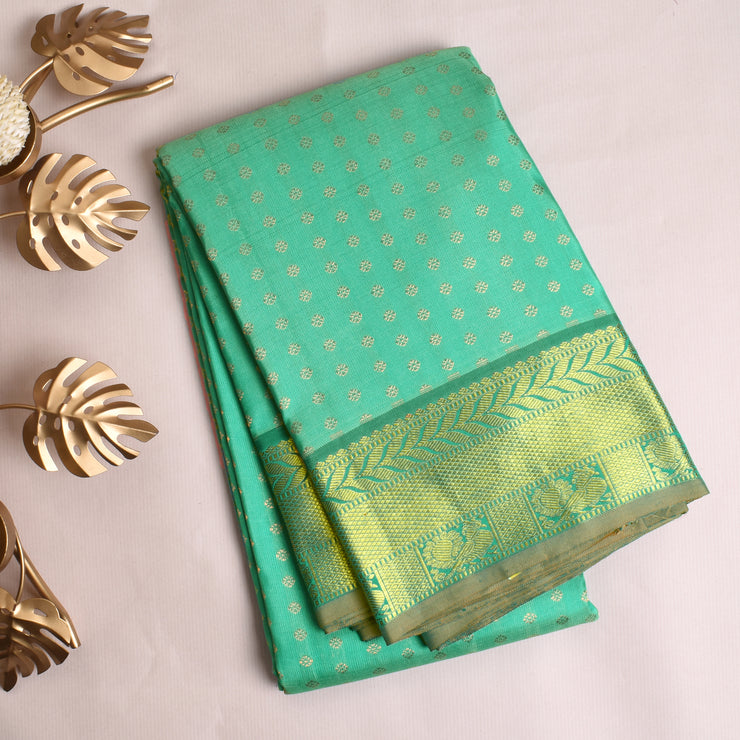 Sea Green Kanchi Silk Saree With Blouse