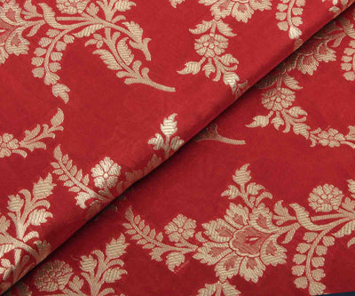 Red Floral Banarasi Silk Fabric