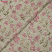 Half White Floral Printed Linen Fabric
