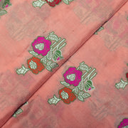 Peach Silver Zari Multi Thread Floral Banarasi Silk Fabric