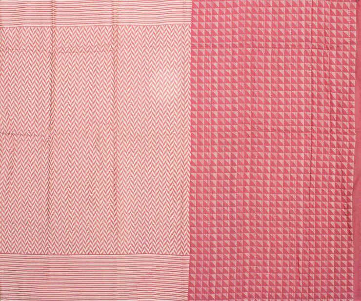 Off White Soft Tussar Saree With Peach Striped Border and Blouse