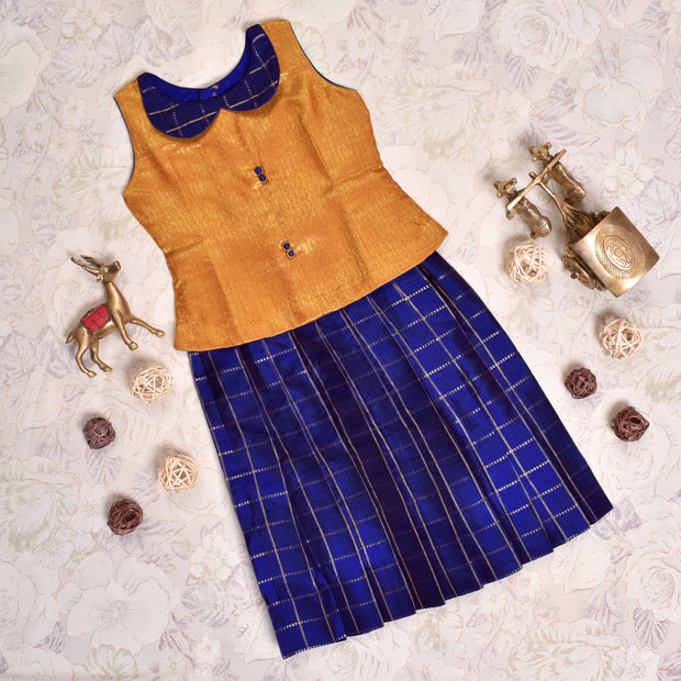 Dual Tone Mustard With MS Blue Frock
