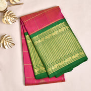 Dual Tone Peach pink Kanchi Silk Saree With Blouse