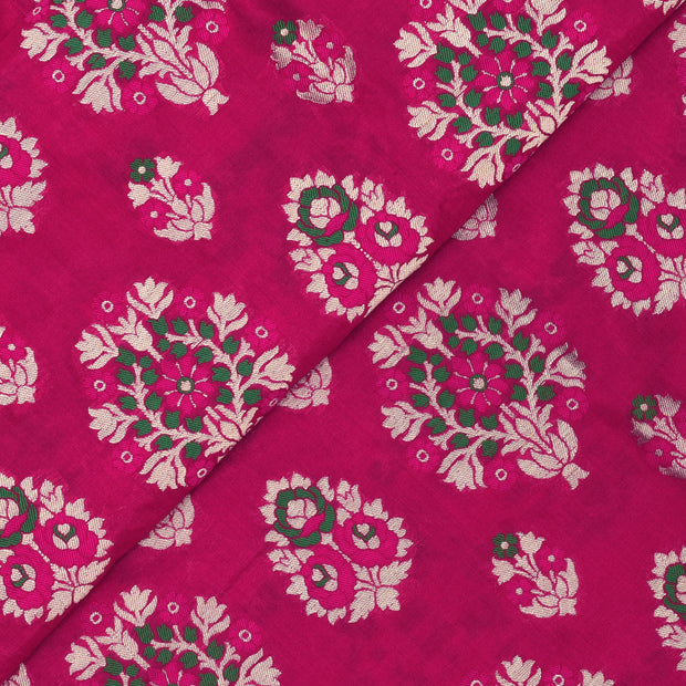 Rose Banarasi Silk Fabric With Rose And Green Thread And Gold Floral Zari Design