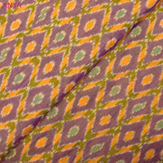 Double Shaded Lavender & Mustard Ikkat Silk Fabric