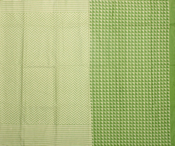Off White Soft Tussar Saree With Pastel Green Striped Border and Blouse
