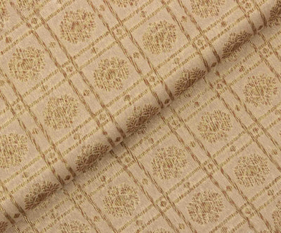 Cream Color Banarasi Silk Fabric with Flower Butta