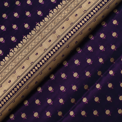 Violet Floral Butta Banarasi Silk Fabric With Grand Border