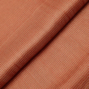 Orange  Silver Zari Kattam Tussar Fabric