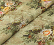 Olive Green Tussar Fabric with Floral Printed Design and Zari Highlights