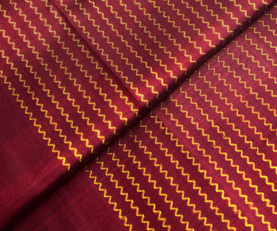 Maroon Kanchi Silk Fabric with Zigzag Zari