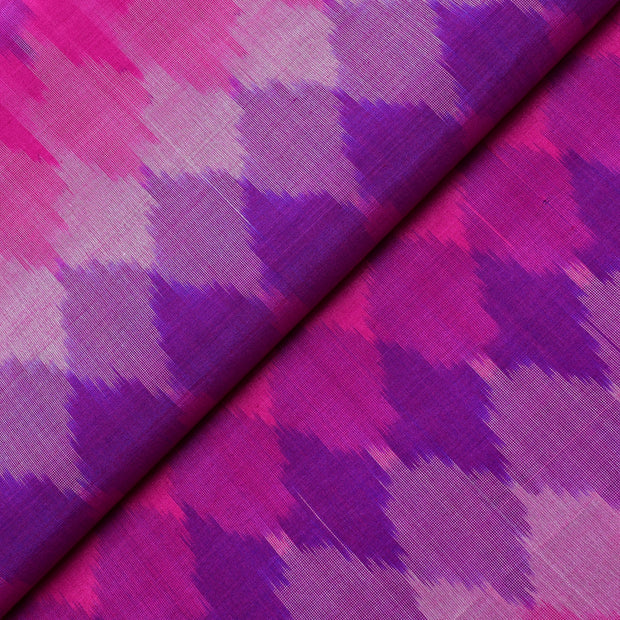 Multi Shade Purple And Rose Ikkat Silk Fabric