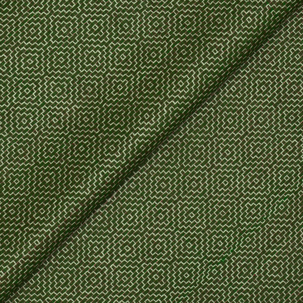 Green Dual Tone  Thread Embroidered Tussar Fabric