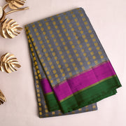 Grey Kanchi Silk Saree With Rose Blouse
