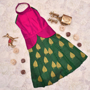 Pink With Bottle Green Frock
