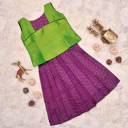 Green Top With Purple Kanchi Silk Skirt