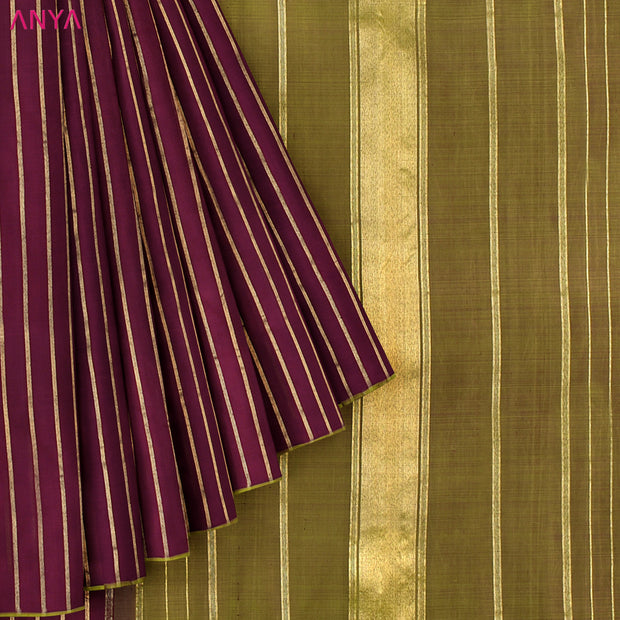 V.Pakku Striped Kanchi Silk Saree