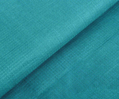 Blue Tussar Fabric With Self Checks