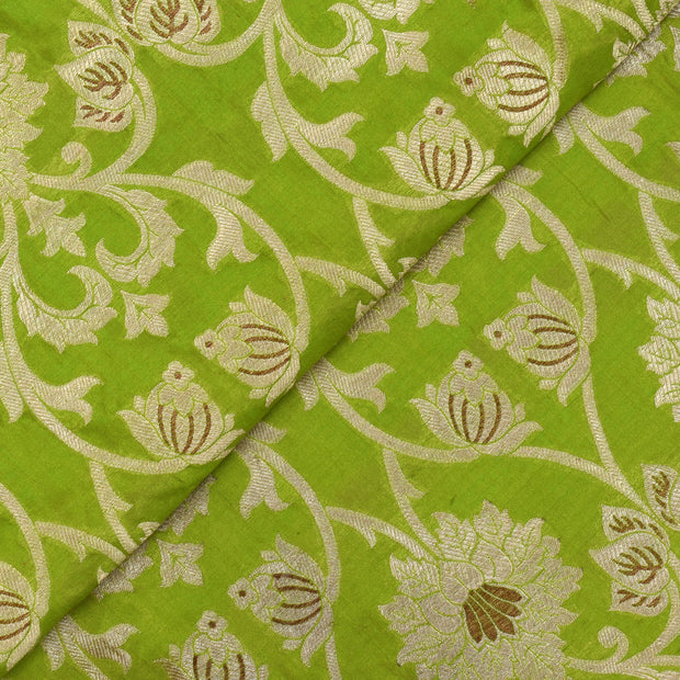 Avocado Green Banarasi Silk Fabric With Floral Antique And Gold Zari Design