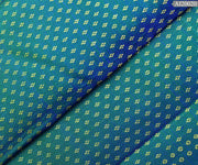 Peacock Blue Double Shaded Kanchi Silk Fabric 4 Guligai Button Design Highlights