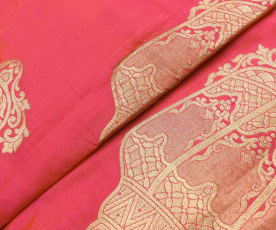 Pinkish Orange Banarasi Silk Fabric With Large Zari Butta Highlights