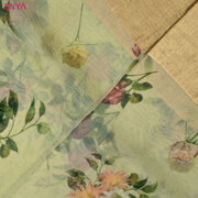 Pastel Green Organza Silk Fabric