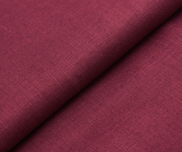 Raw Maroon Linen Fabric