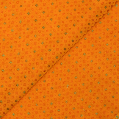 Orange Self Thread Zari Design Banarasi Silk Fabric