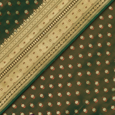 Dual Tone Green And Red Floral Butta Banarasi Silk Fabric With Grand Border