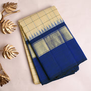 Half White Checked Kanchi Silk Saree With Navy Blue Blouse