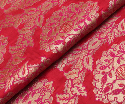 Red Banarasi Silk Fabric With Floral  Zari Highlights