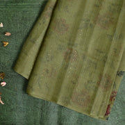 Olive Green Printed Organza Sequins Saree With Blouse