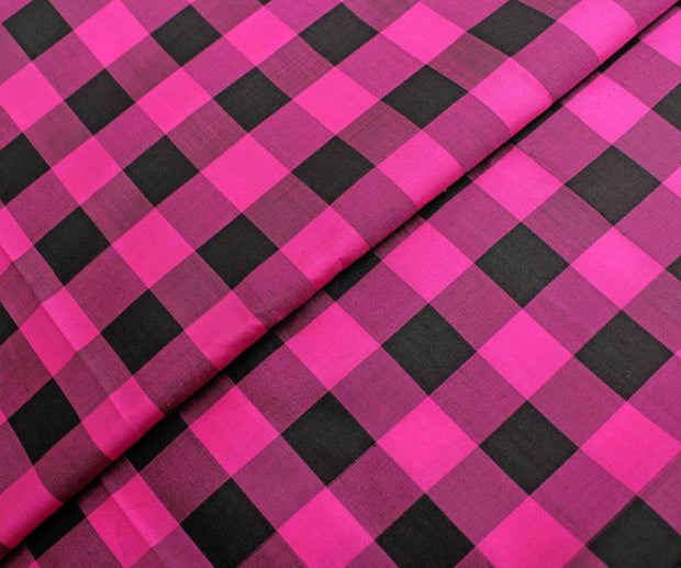 Rose And Black Checked Kanchi Silk Fabric