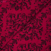 Crimson Red Floral Kanchi Silk Fabric