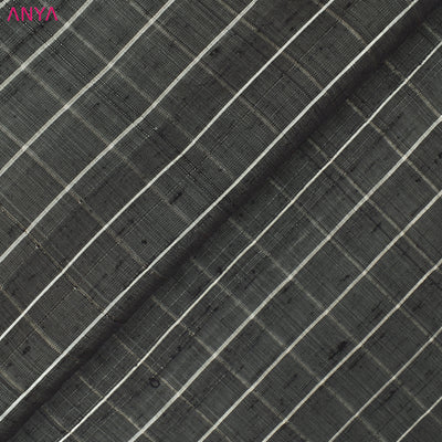 Charcoal Grey Checked Tussar Silk Fabric