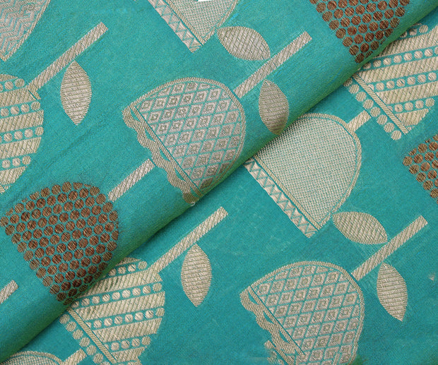 Rama Blue Banarasi Silk Fabric with Jhumki Buttas