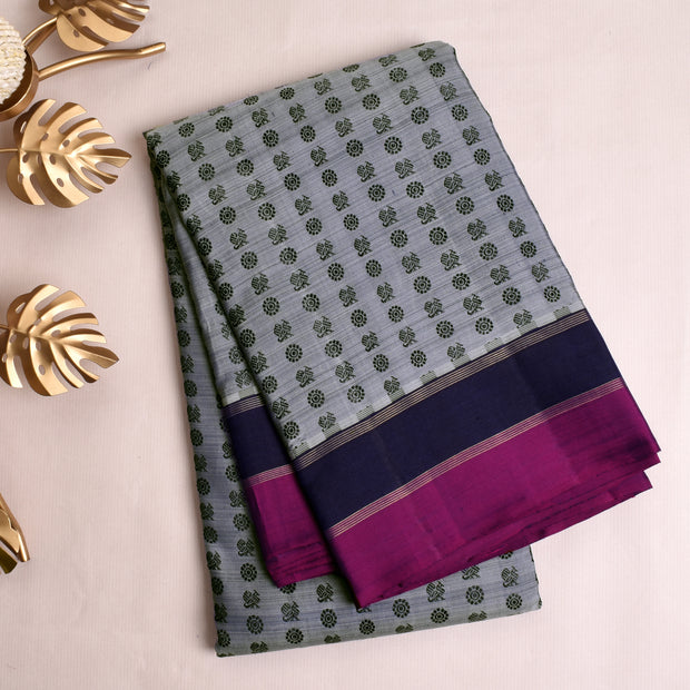 Double Shaded Bluish Grey Kanchi Silk Saree