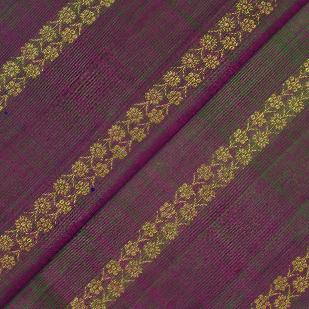 Dual Tone Magenta And Green Floral Stripes Butta Kanchi Silk Fabric