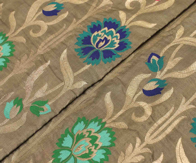 Fog Multi Floral Banarasi Silk Fabric With Zari Highlights