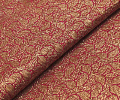 Maroon Banarasi Silk Fabric With Paisley Buttas