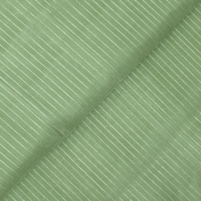Pale Apple Green Muthuseer Line Kanchi Silk Fabric