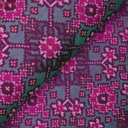 Dual Tone Pink With Peacock Blue Patan Patola Silk Fabric